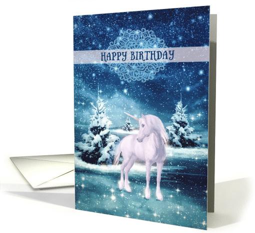 Happy Magical Birthday Unicorn Winter Landscape Card