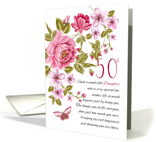 50th Birthday Daughter Floral Daughter Birthday card