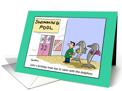 Swimming With The Dolphins Funny Cartoon Comic Card 1391350