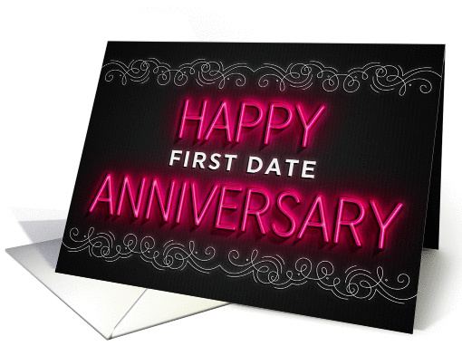 Pink Neon Light Effect First Date Anniversary Card 1434112