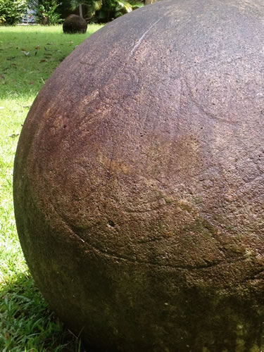 Petroglyphs on a Stone sphere - Mysterious Stone Spheres of Costa Rica – Greetings from the Past