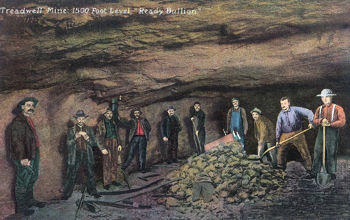 "Postcard of Treadwell Mine 1500 Foot Level ""Ready Bullion"""