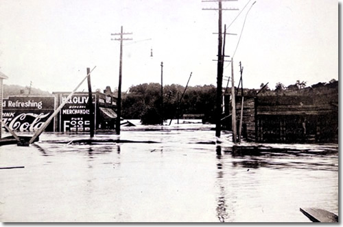 The Spring Street approach to Smith's Bridge in Asheville, North Carolina Photo by Steve Nicklas From The Floods of July, 1916 published by Southern Railway Company in 1917