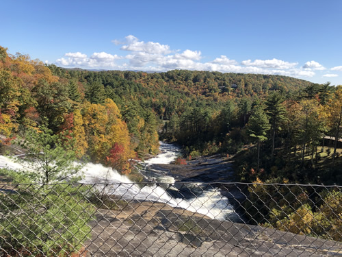 """Look for the """"scour lines"""" in the rocks around Toxaway Falls"""