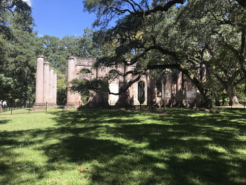 First view of Old Sheldon Church Ruins
