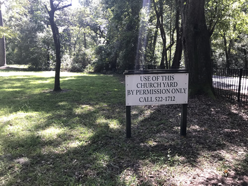 Sign in front of Old Sheldon Church Ruins For permission to use the church yard, call 522-1712