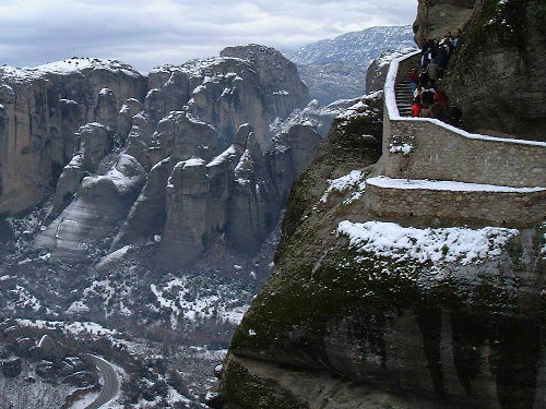Improved staircase to the Meteora Monastery Photo by Laura Scudder
