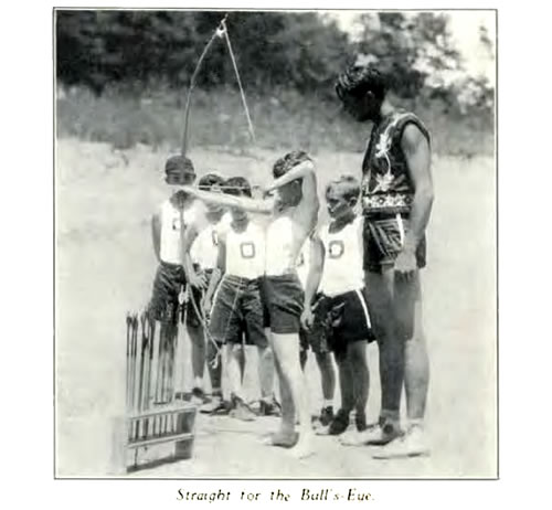 Boys learning archery at Camp Osceola
