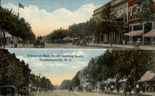 1910 Postcard The Hendersonville Opera House is just visible at the top left.