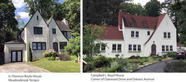 There are two Tudor Revival houses in Druid Hills. They seem to look alike, but they're really not. The G. Florence Boyle House is on Meadowbrook Terrace. The Campbell L. Boyd House is at the corner where Clairmont Drive meets Orleans Avenue, Hendersonville, NC