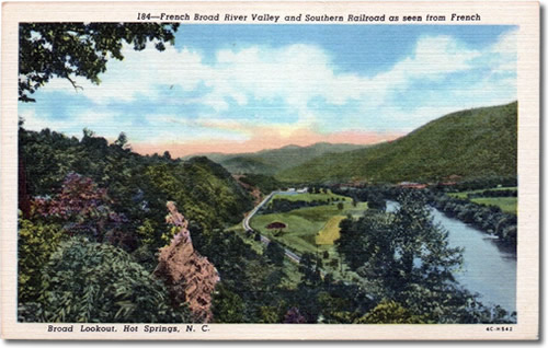 French Broad River Valley and Southern Railroad as seen from French Broad Lookout, Hot Springs, NC