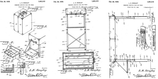 Combined Carrying Case and Table Patent Application US 1661015A Filed Feb. 28, 1928 A carrying case for a typewriter and stationery for use with the typewriter, which case embodies leg structures by means of which the case may be supported for use as a table. A further and more specific object of the invention is to provide a device of this character in which the leg structures provide stationery compartments for the reception of the stationery.