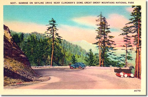 Old Postcard of the Drive to Clingmans Dome