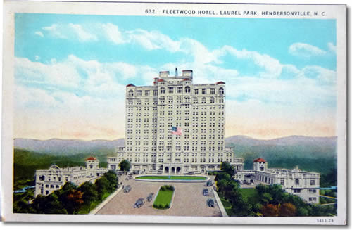 Postcard of the 15 story Fleetwood Hotel at the top of Jump Off Mountain near Jump-Off Rock