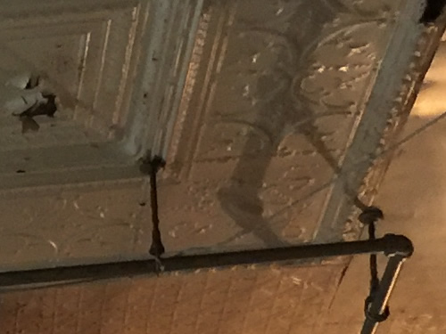 The stamped tin ceiling in Travis Hardware, Cocoa Florida
