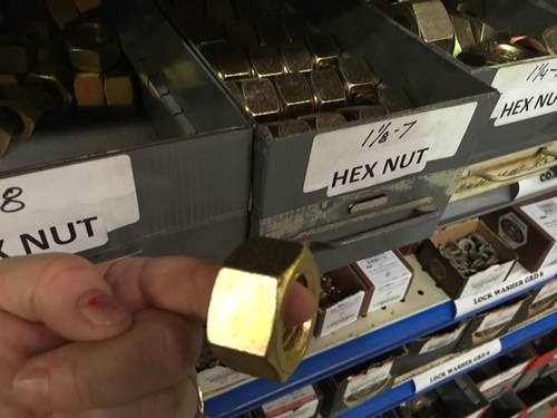 An enormous nut in Travis Hardware, Cocoa Florida