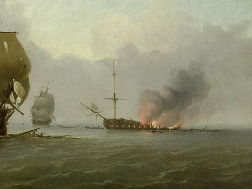 HMS Dartmouth burning in the painting The Capture of the Glorioso by Charles Brooking