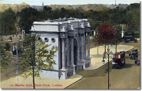 Old Postcard of Marble Arch Entrance to Hyde Park, London