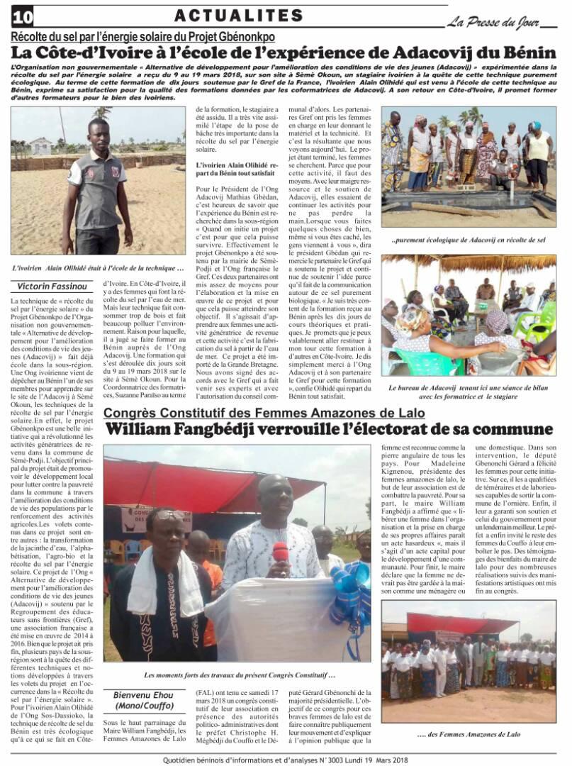 Un projet GREF, du Bénin à la côte d'ivoire