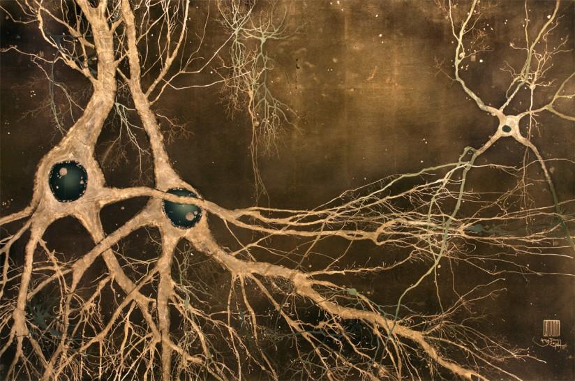 Maki-e Neurons neuron art on gold leaf by Greg Dunn