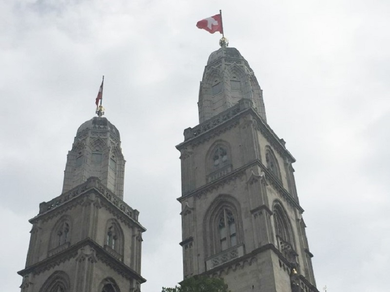 The twin towers of Grossmunster Church, Zurich