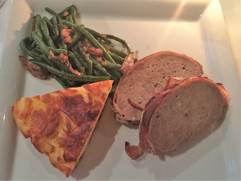Hackbraten, meatloaf with green beans and potato wedges at Marriott Hotel, Zurich