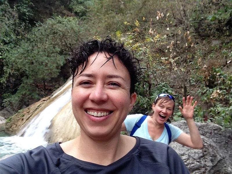 Kelly & Rosie at Neer Garh Waterfall, near Rishikesh