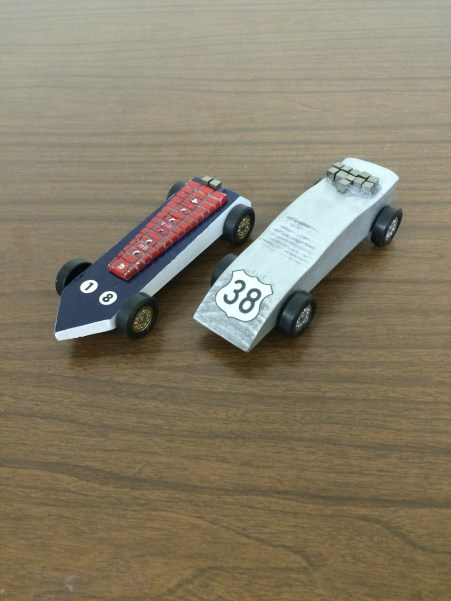 The 2016 PInewood Derby cars.
