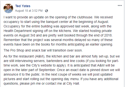 Ted Yates Clubhouse Update 8.18.2018