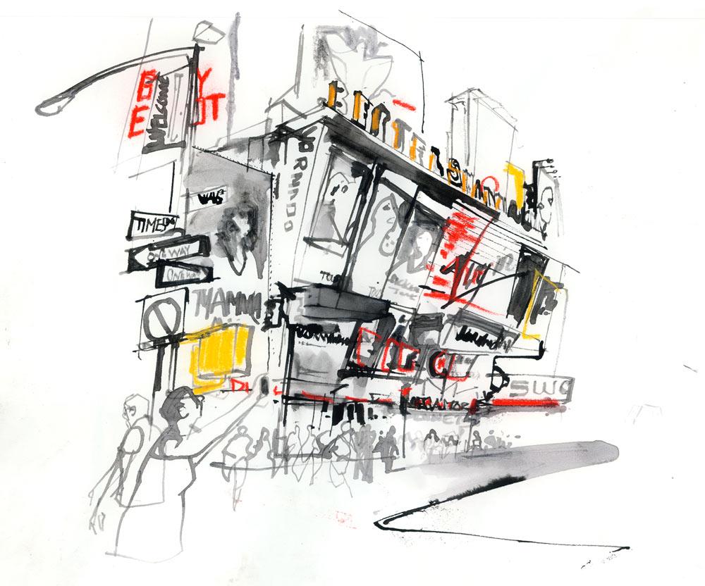 Traffic-Free Times Square Reportage – greg betza illustration
