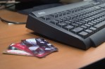 A set of credit cards and a keyboard. Credit card fraud is just a click away.