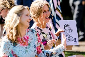 Live on the spot caricature drawing at your wedding event