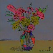 contemporary still life of flowers in vase