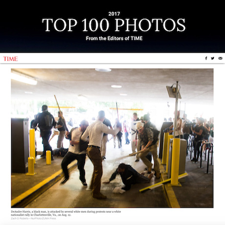 Palast Investigative Fund fellow Zach D. Roberts' Charlottesville photo makes Time Mag's Top 100 Photos of 2017 list