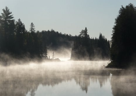 Mist and islands on a BWCAW lake.