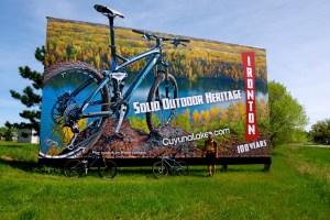A billboard advertising the Cuyuna trail system near Crosby