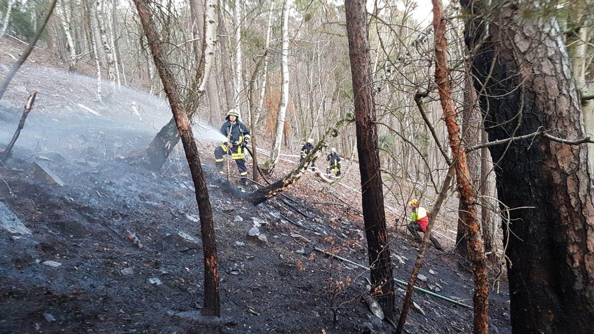 Zur Bekämpfung eines Waldbrandes unterhalb des Greizer Weißen Kreuzes rückten am Donnerstagnachmittag (02.04.2020) die Greizer Feuerwehren aus, darunter die Ortsteilfeuerwehr Obergrochlitz.