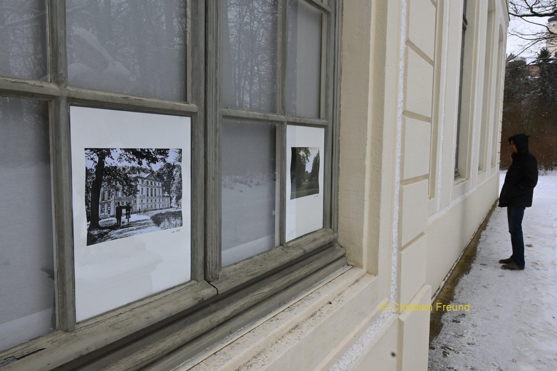 Historische Postdkarten im Großformat an Fenstern des Sommerpalais