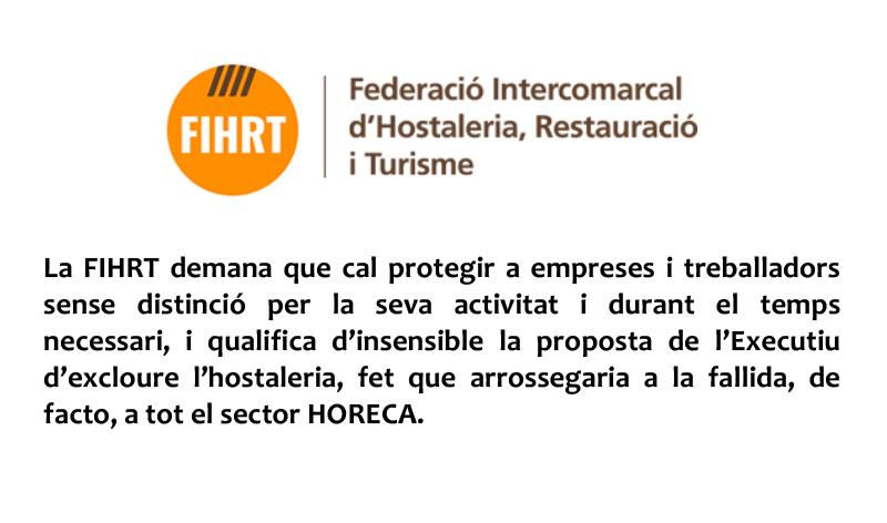 La FIHRT demana que cal protegir a empreses i treballadors