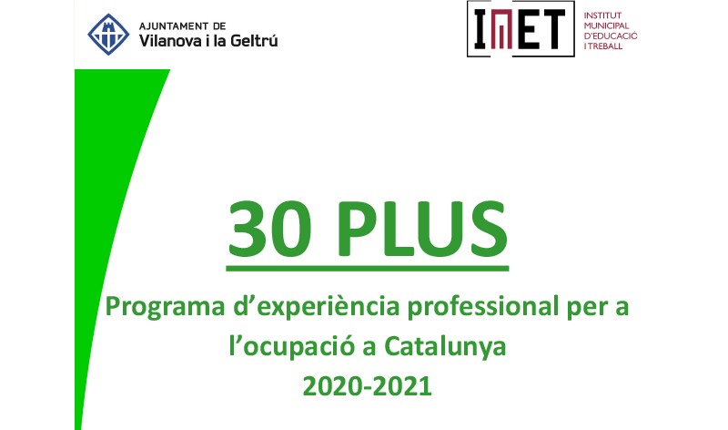 Contractacio subvencionada programa 30 PLUS 2020 IMET