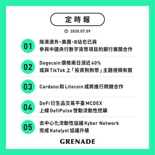 【定時報】美團、B站也已與參與中國央行數字貨幣項目的銀行展開合作;Dogecoin (狗狗幣)官方推特提醒投資者注意市場風險
