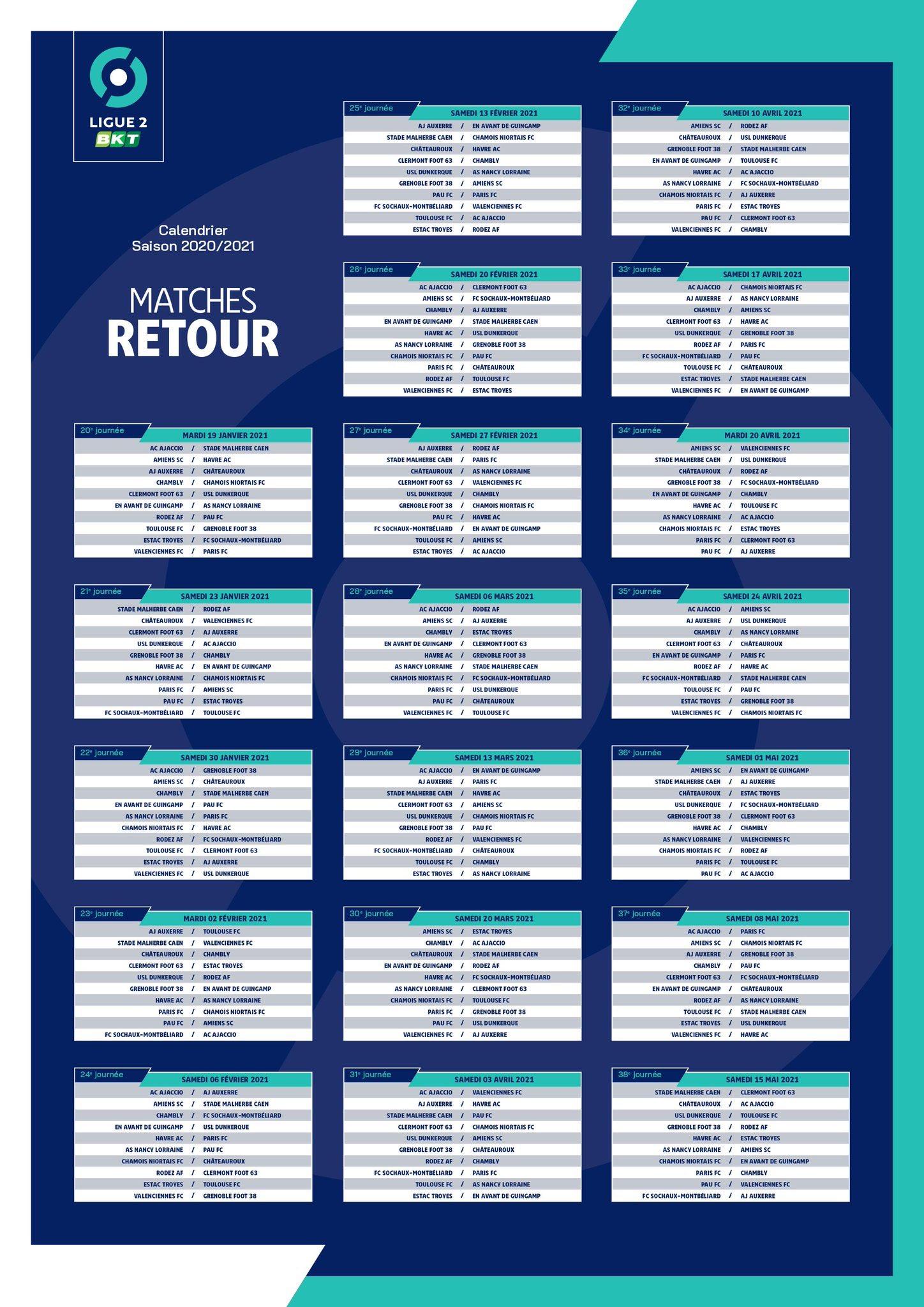 Ligue 2 Le Calendrier 2020 2021 Journee Par Journee Grenoble Foot Info