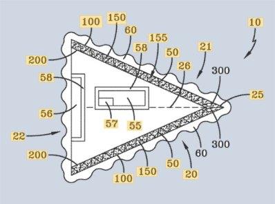 """Technische Patent-Zeichnung zum """"Hybrid Aerospace Underwater Craft"""" (HAUC) der US Navy. Copyright: USPTO"""
