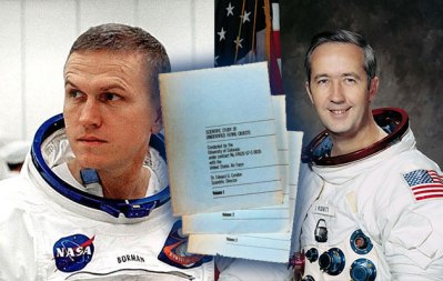 Die Gemini-Astronauten Borman und McDivitt und Seitenbeispiele des Condon-Reports. Collage: grenzwissenschaft-aktuell.de