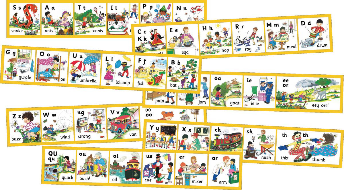 fixing wooden chairs white chaise lounge chair jolly phonics 42 letter sounds wall frieze and mural - gresswell specialist resources for libraries