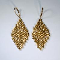 Diamond Cube Earrings - 24K Gold