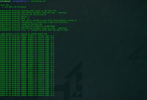 Windward Server: Fehler beim Serverstart