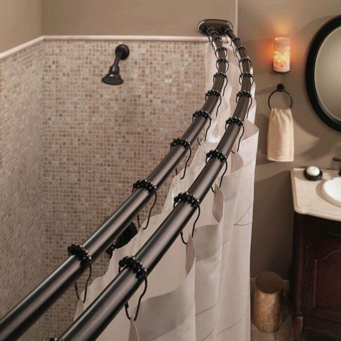 bennington adjustable double curved shower curtain rod oil rubbed bronze