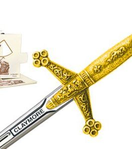 Miniature Claymore Sword (Gold) by Marto of Toledo Spain