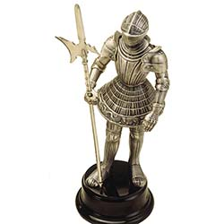 Miniature Medieval Knight Suit of Armor with Halberd by Marto of Toledo Spain